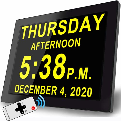 """Digital Clock with 16 Alarms & Remote Control, 8"""" Large AM/PM, Bedroom Wall Day Date Clock for Memory Loss Seniors Dementia Alzheimer's or School Kids"""