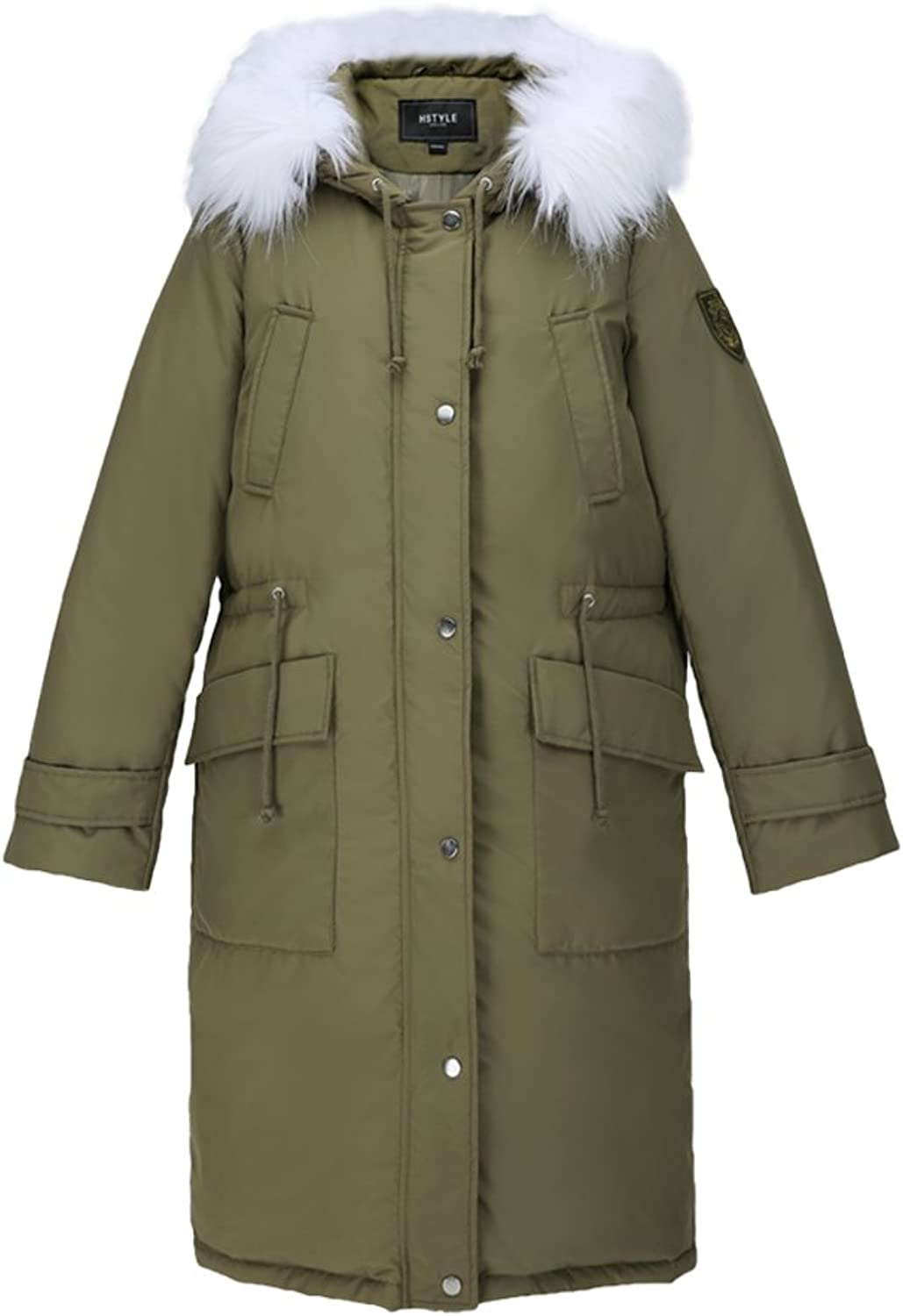 Leisure Green Hooded Zipper Coat Winter Warm Windproof Thick Coat Women Comfortable Straight Down Coat (color   Green, Size   S)