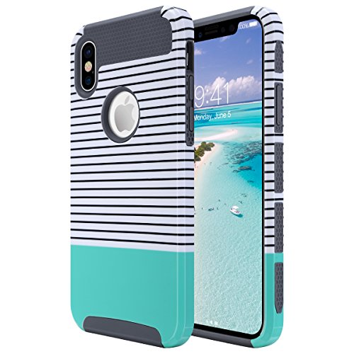 ULAK iPhone Xs Case, iPhone X Case, Slim Fit Hybrid Hard PC Back Cover with Flexible Shock Absorbing TPU Interior Premium Bumper Phone Case for iPhone X/XS 5.8 Inch, Mint Stripes