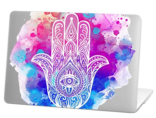 Macbook Pro 13 inch Rubberized Hard Case for model A1706 & A1708 with/without Touch Bar, watercolor hamsa hand Design with Clear Bottom Case
