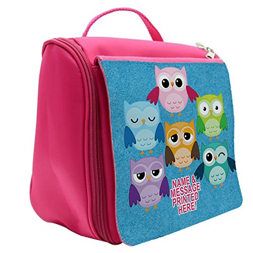 Personalised Cute Owls St452 Pink Hanging Wash Bag/Toiletry Travel/Make Up Cosmetic Shower Bag Gift