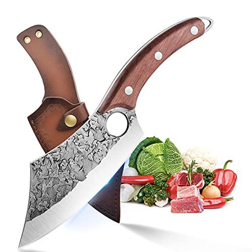 Cuchillo deshuesador con funda de cuero Cuchilla forjada a mano Cuchillo de chef de acero al carbono Cuchillo de exterior para cocina Excursión a barbacoa con caja de regalo