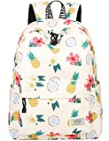 Mygreen Mädchen Wasserabweisend Schulrucksack Ananas Kokosnus Druckmuster für 15 Zoll Laptop Beige...