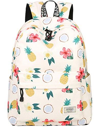 Leichte Schulrucksack mit Ananas Nette Schultaschen Damen Mädchen EXTRA Groß Tagesrucksäcke Rucksäcke Modische Rucksack mit Laptop Fach - Kleine Prinzessin