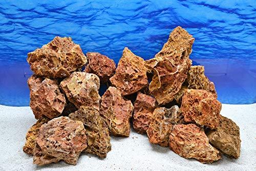 Pro Kiste Aquarium Deko Versteinertes Laub rot braun Natursteine 0,8-1,5 Kg Felsen Nr.57 Pagode Dekoration Aquascaping