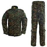 LANBAOSI Men's Tactical Jacket and Pants Military Camo Hunting ACU Uniform 2PC Set (Medium Slim, Jungle Digital)
