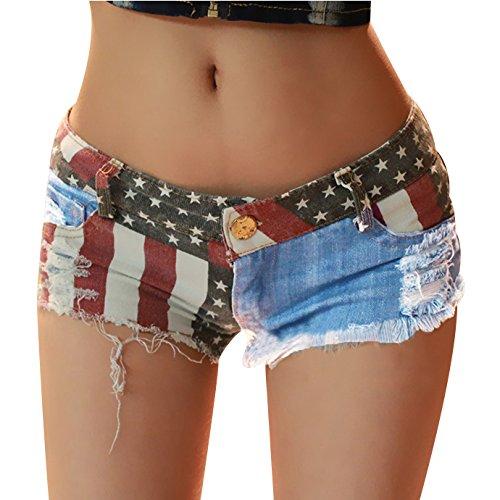 Andy's Share, Hot Sexy Damen American US Fahne Mini Jeans Shorts Pants, Denim Low Waist (M)