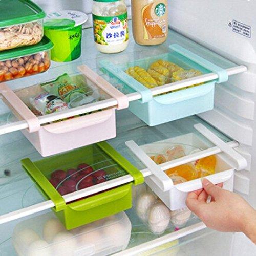 Bluelover Cocina Plástico Nevera Nevera Rack De Almacenamiento Congelador Estante Holder Cocina Organización Rosa