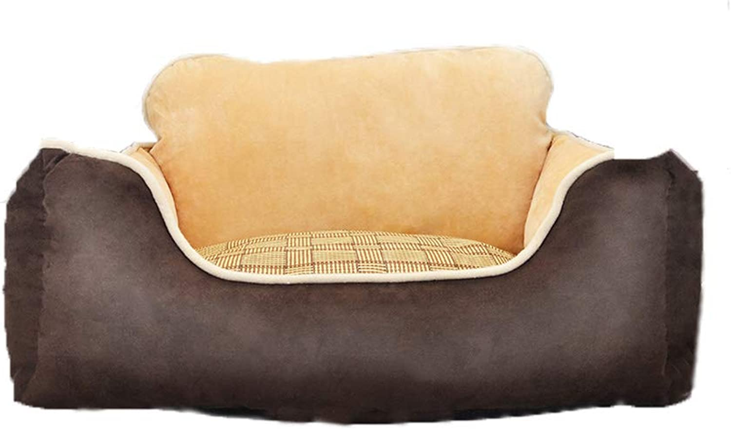 DQMSB Dog Bed, Cat Nest, Pet Supplies, SemiEnclosed Cat Litter, Kennel, Four Seasons pet Bed (color   Brown, Size   S)