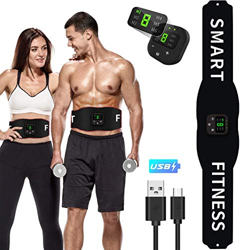 LEMENG EMS Trainingsgerät,Bauchmuskelgürtel Elektrostimulation Muskelstimulation EMS Bauchtraining Professional Bauch Muskel ABS Muskelstimulator USB-Aufladung für Herren Damen
