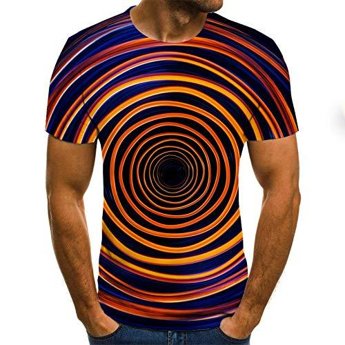 T-Shirt Grande Taille Hommes T-Shirt été géométrique Cercle 3D imprimé t-Shirts Mode O - Cou Manches Courtes décontracté lâche Hommes Chemises S Txu-1049