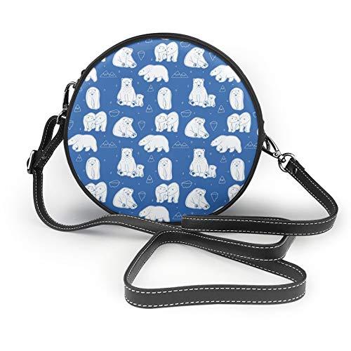 Bolso bandolera redondo para mujer, diseño de osos polares blancos