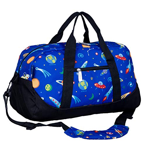 Wildkin Kids Overnighter Duffel Bag for Boys and Girls, Carry-On Size and Perfect for After-School Practice or Weekend Overnight Travel, Measures 18x9x9 Inches, BPA-free, Olive Kids(Out of this World)
