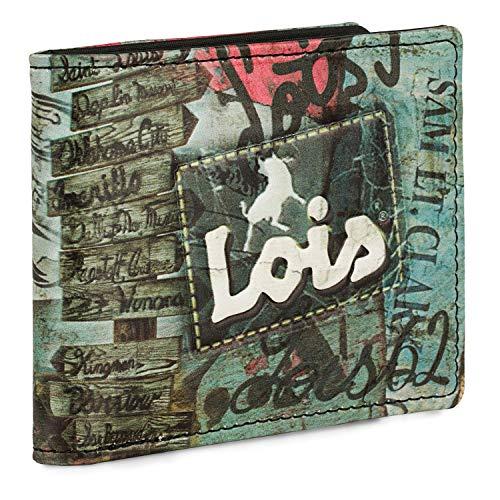 Lois - Cartera de Hombre Pequeña Juvenil con Monedero, Billetera y Tarjetero de Lona Estampada. Muchos Compartimentos. Protección RFID. 203603, Color Negro