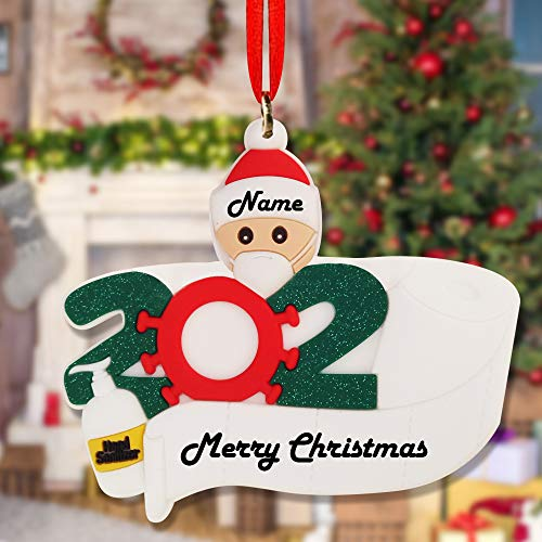 Easyocean 2020 Quarantine Personalized Ornaments Survivor with Hand Sanitized Christmas Ornament(Family of 1, White)