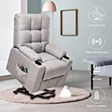 Power Lift Recliner Electric Chair for Elderly Heated Vibration Massage Fabric Sofa Motorized Living Room Chair with Side Pocket, Cup Holders & Massage Remote Control, Grey