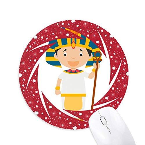 "Gelber Hut Ã""gypten Cartoon Wheel Mouse Pad Round Red Rubber"
