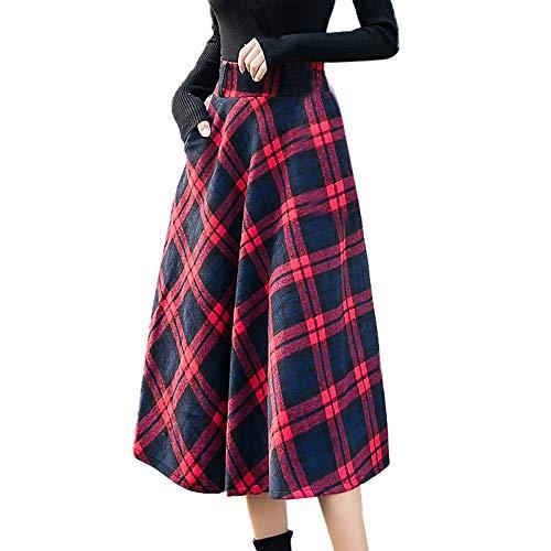 Lenfesh_Vestidos para mujer Elegantes Moda Falda Plisada a Cuadros Escocesa Falda Larga de Cintura elástica para Mujer Falda Larga