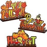 Blulu Decoraciones de Fiesta de Otoño de Happy Fall Y'all Centros de Mesa de Calabazas de Acción de Gracias Decoración de Acción de Gracias Otoño Cosecha Espantapájaros, 7,87 x 4,72 Pulgadas