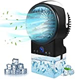 Spmmmner Portable Air Conditioner Fan, Personal Mini Air Cooler Fan with Handle, Air Circulator Ultra-Quiet Cooling Fan, LED Display, 7 Colors Lights for Home Office Dorm…
