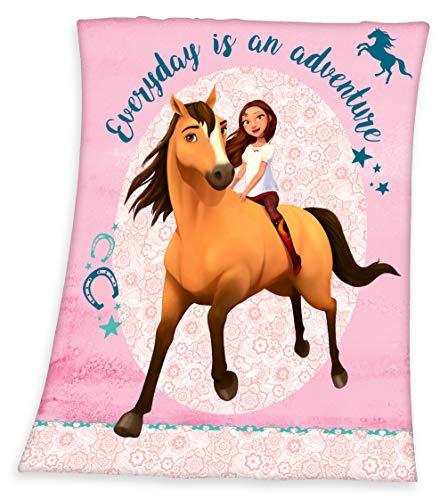 SPIRIT Pferde Fleecedecke Kuscheldecke mit Pferd 130 x 160 cm