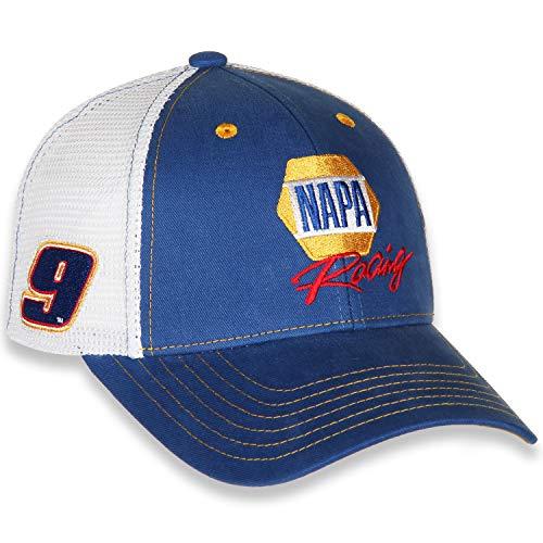 Checkered Flag Chase Elliott 2021 Napa #9 Racing Sponsor Signature Trucker Mesh Blue White Hat