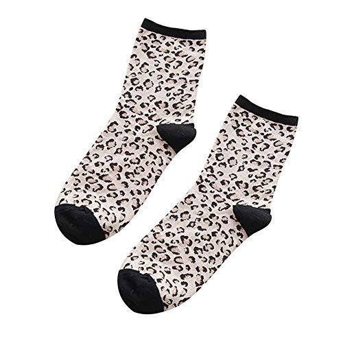 ZZBO Leoparden Mittlere Strümpfe Tube Socks Herbst und Winter Mode Lässig Retro Leopardenmuster Plus Kontrast Farbe Frauen Socken Wärmende Atmungsaktiv