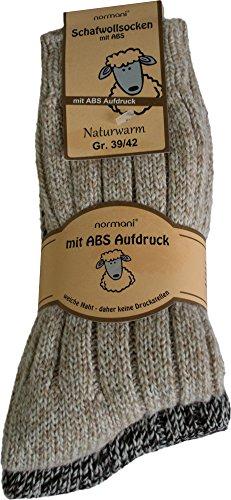 normani 2 Paar superwarme ABS-Stopper-Norweger-Socken EIN ECHTER Hausschuh-ERSATZ Farbe Braun/Beige-Töne Größe 39/42