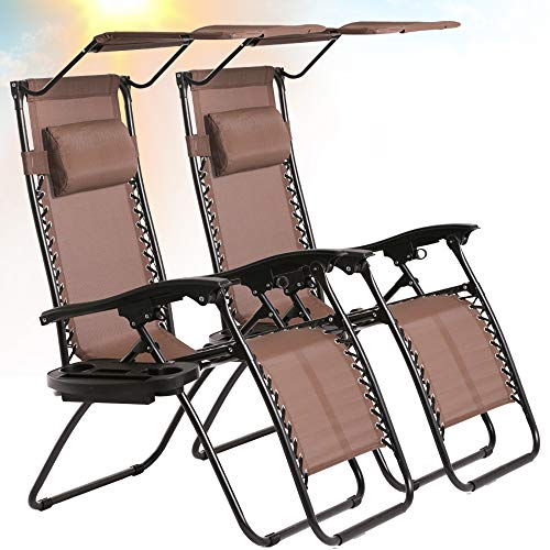 Best Home Product Zero Gravity Chair Set of 2 Patio Chairs Lounge Chair Outdoor Adjustable Folding Recliner with Canopy Sunshade and Cup Holder Reclining Chairs for Beach Garden Lawn Pool Camping