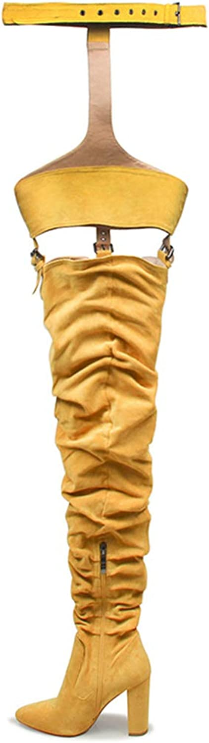GEORPE Over The Knee Pointed Belt Thigh High Boots Chunky High Heels Boots