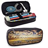 Safari Decor Collection PU Leather Zipper Pouch Dreamy Photo of Savannahs at Sunset with Zebras on The Grassland Dramatic Sky Wild Nature Deco Durable Stationery Holder Multi