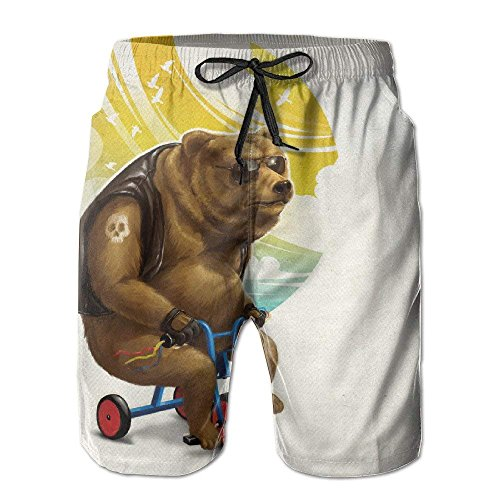 AZXGGV Men Brown Bear Ride Bike Funny Summer Breathable Quick-Drying Swim Trunks Beach Shorts Cargo Shorts,Breathable Quick-Drying Swim Trunks Beach Shorts Board Shorts M