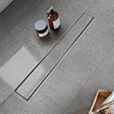 Modbath 36 Inch Linear Shower Drain with 2-In-1 Flat Cover and Tile Insert Grate, Floor Drain Brushed 304 Stainless Steel Floor Drain with Hair Strainer, Adjustable Leveling Feet