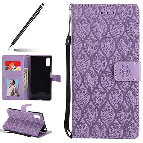 Uposao Hülle Kompatibel mit Sony Xperia XZ Handyhülle, Retro Blumen Handytasche Bookstyle Klappbar Flip Case Brieftasche Lederhülle Leder Handy Schutzhülle mit Magnetverschluss,Lila