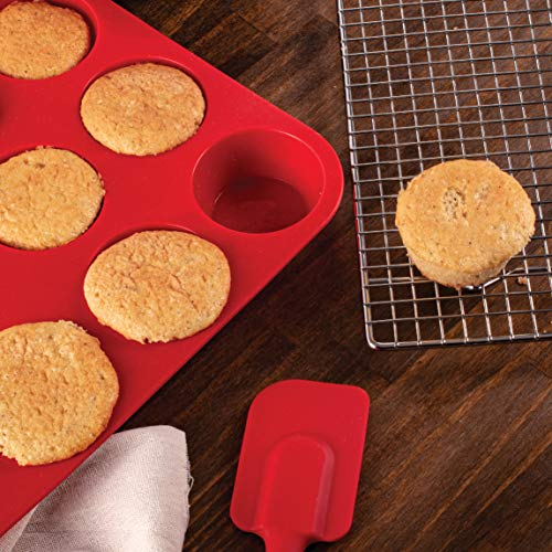 Mrs. Anderson's Baking Silicone 12-Cup Muffin Pan Baking Mold, BPA Free, Non-Stick European-Grade Silicone, 13.5 x 10 x 1.25-Inches