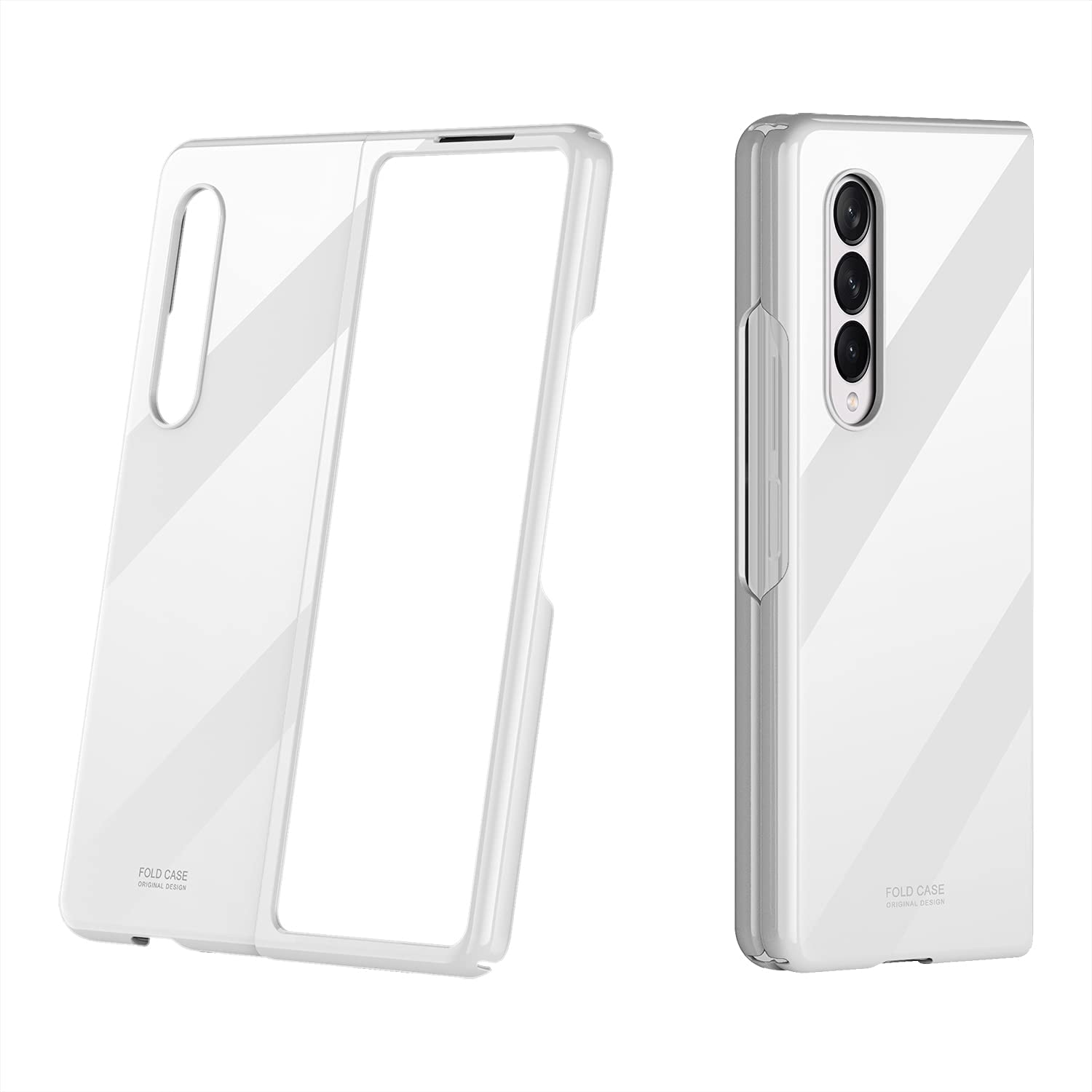 SHBDZGS for Samsung Galaxy Z Fold 3 Case Luxury Plastic Plating Crystal Shockproof Protection Finish Bumper Cover Case for Samsung Galaxy Z Fold 3 5G (White)