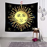Indoor Tapestry, Tapestry Wall Hanging Sun And Moon Psychedelic Small Wall Tapestry with Art Chakra Home...