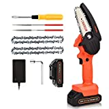 20V Cordless Mini Chainsaw, JUEMEL 4-Inch Portable Handheld Chain Saw with Rechargeble Battery for Wood Cutting, Tree Branches Shears Pruning, Courtyard, Household and Garden