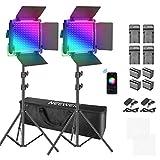 Neewer Luz de Video LED RGB con Control de Aplicación, 360° a Todo Color, Kit de Iluminación de...