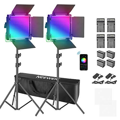 Neewer RGB LED Videolicht mit APP Steuerung 360° Vollfarbe, 50W 660 PRO Videobeleuchtungs Set CRI 97+ mit Ständern Batterien & Ladegeräten für Spiele Streaming Zoom Webex Webkonferenz Fotografie