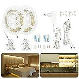 Tira LED Luz de cama con detector de movimiento, AveyLum luz blanca cálida, tira de luz nocturna regulable, sensor de movimiento Luces nocturnas, 2 x 1,5 m
