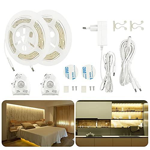 LED Bettlicht mit Bewegungsmelder, AveyLum Warmweiß Bett Lichtleiste Nachtlicht Streifen Dimmbar Bewegungssensor Licht Leiste Baby Beleuchtung, 2x 1.5M