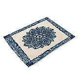 MissW Manteles Individuales De Porcelana Azul Y Blanca con Estampado Retro, Impermeables, A Prueba De Aceite, Aislantes del Calor, Manteles Ecológicos para Fiestas, Hoteles, Hogares