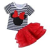 Mud Kingdom Toddler Girls' Cartoon Cute Set T-Shirt and Tutu Skirt Outfit 24 Months Red