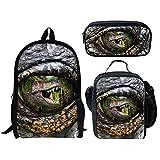 Advocator T-Rex - Juego de 3 mochilas con diseño de dinosaurio con estampado de tiranosaurio, bolsa de almuerzo aislada, estuche para niños y niños
