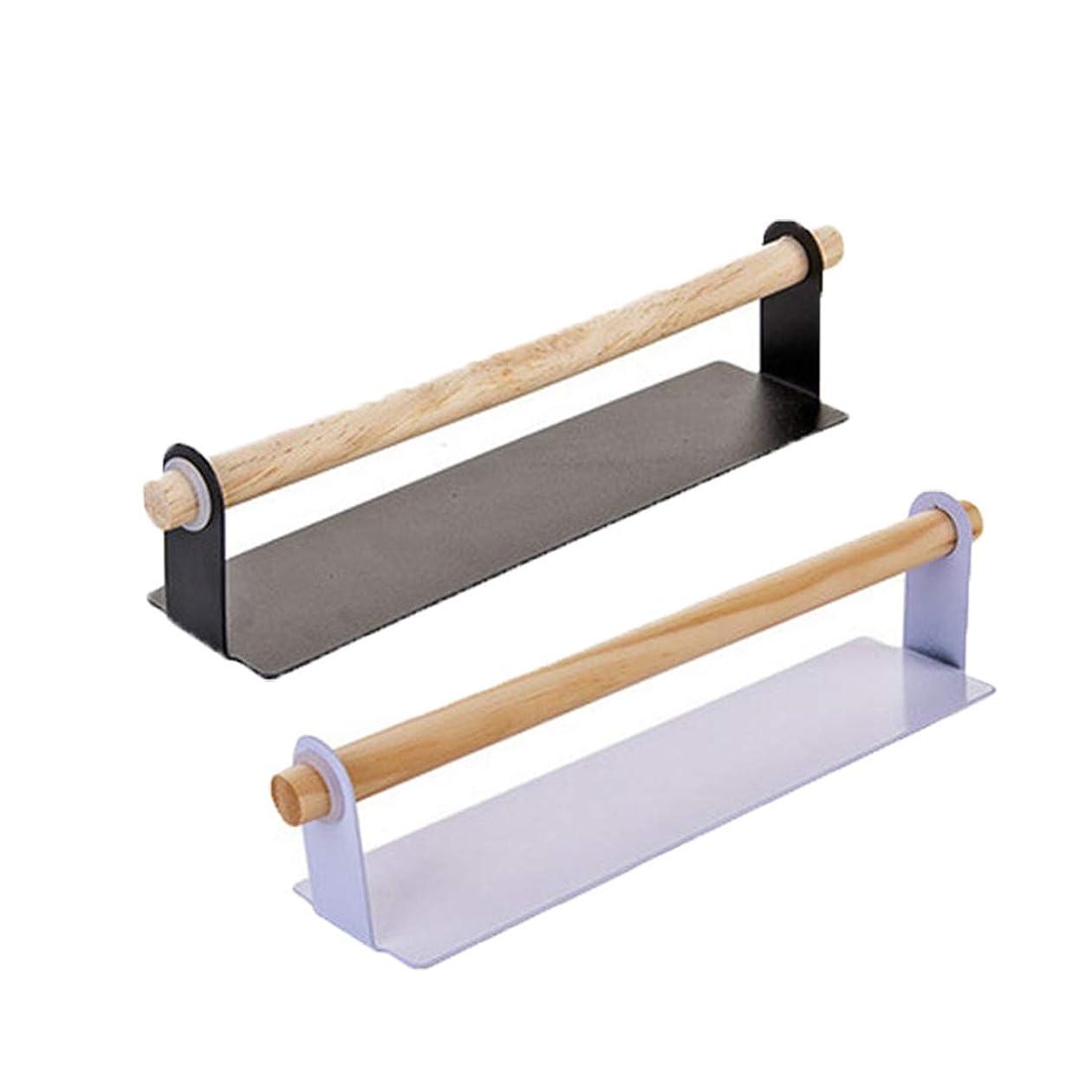 ミリメーター要求する絶縁する11インチタオルバーシングルタオルラック キッチン バスルーム用 取り外し可能 木製ペーパータオルホルダー ドリル不要 壁取り付け タオルホルダー ロールオーガナイザー (2個)