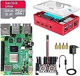 LABISTS Raspberry Pi 4 Model B 8GB RAM Starter Kit, RPi Barebone con MicroSD 128GB, Tipo C Alimentador 5.1V 3A, Ventilador, 2 Micro HDMI, Raspberry Pi 4 Case Protectora Negra y Lector de Tarjeta