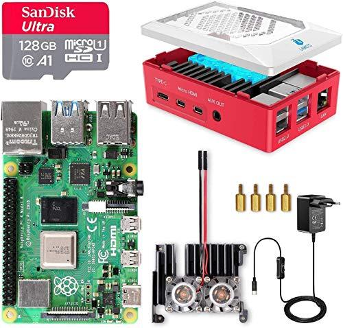 LABISTS Raspberry Pi 4 Model B 8GB RAM Starter Kit, RPi Barebone con MicroSD 128GB, Tipo C Alimentatore 5.1V 3A, Ventola, 2 Micro HDMI, Raspberry Pi 4 Case Protettiva Rossa, Lettore di Scheda