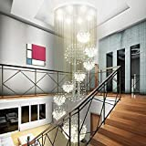"""Siljoy W31.5"""" X H110"""" Modern Chandeliers Rain Drop with 11 Crystal Sphere Ceiling Light Fixture Spiral Staircase Lighting"""