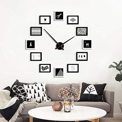 LXDLJ DIY wandklok, massief hout foto muur Europese woonkamer decoratie klok muur klok mode fotolijst kwarts klok, zwart 120 * 120cm
